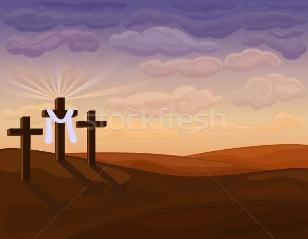 Religious Easter - Golgotha hills Stock photo © Eireann