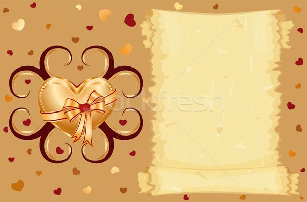 Love card with golden heart Stock photo © Eireann