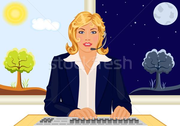 Atendimento ao cliente 24 chamar ilustração feliz Foto stock © Eireann