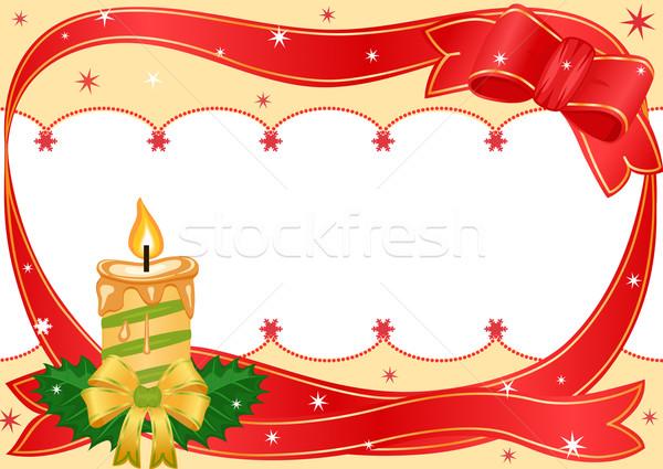 Karácsony ünnepi gyertya arany szalag fehér Stock fotó © Eireann