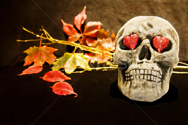 Halloween night with scary skull Stock photo © Eireann