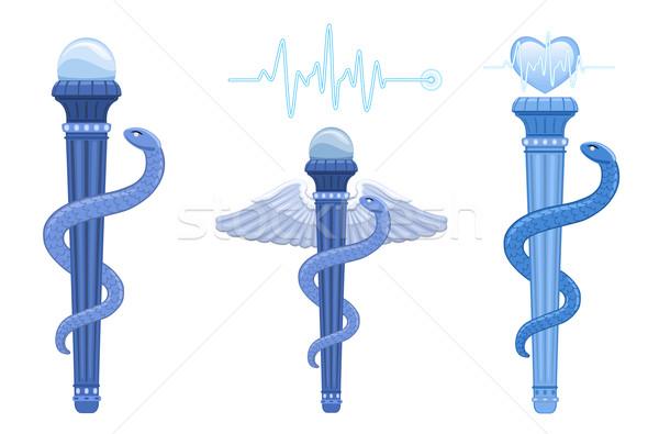 Rod of Asclepius and Caduceus - medical symbol Stock photo © Eireann