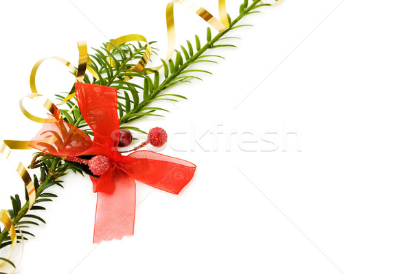 Stock photo: Christmas frame with pine tree branch