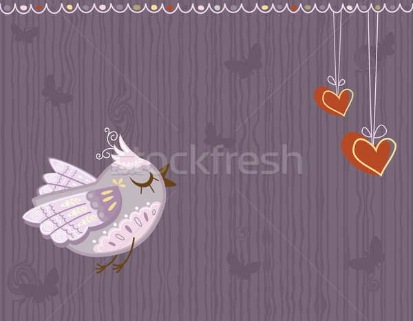 Love greeting card with cute bird Stock photo © Eireann