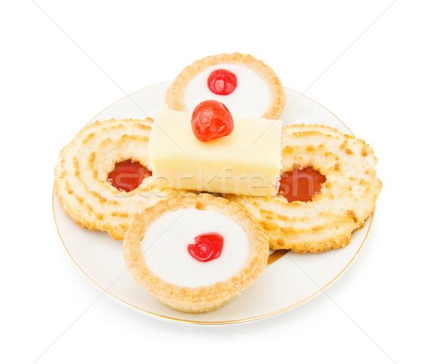 Bisküvi kek kiraz hindistan cevizi reçel dilim Stok fotoğraf © Eireann