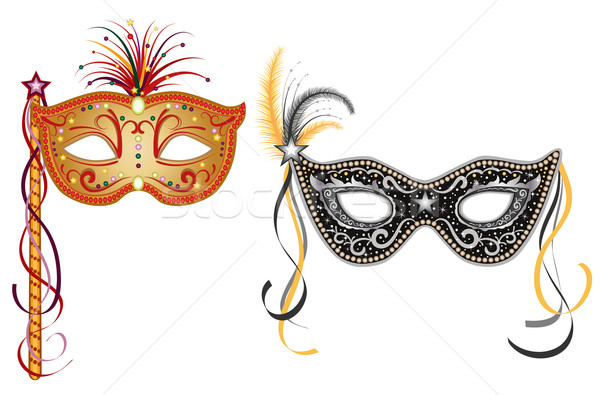 Carnival masks - gold and silver Stock photo © Eireann