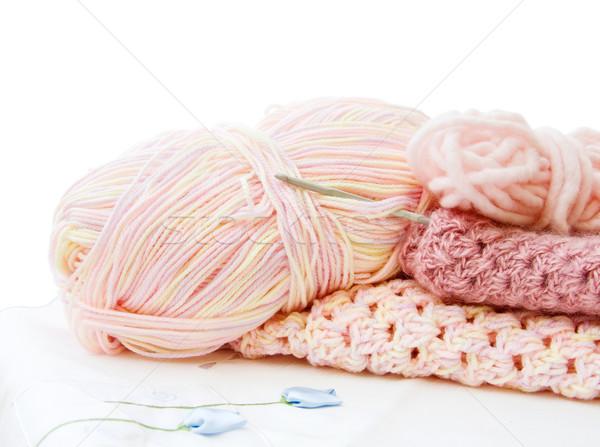 Crochê fio rosa feito à mão artes bastante Foto stock © Eireann
