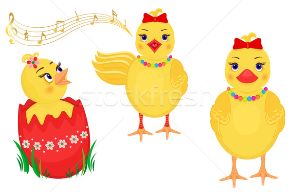 Easter three cute chicks Stock photo © Eireann