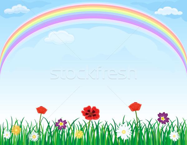 Сток-фото: радуга · луговой · трава · цветы · красивой · зеленая · трава