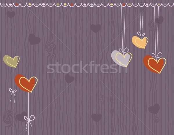Sevmek tebrik kartı kalpler valentine gün mor Stok fotoğraf © Eireann