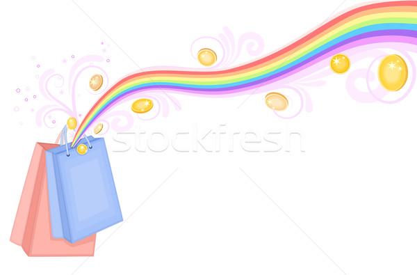 Tesouro arco-íris moedas de ouro isolado Foto stock © Eireann