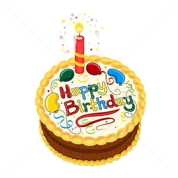 Boldog születésnapot csokoládés sütemény gyertya izolált fehér vektor Stock fotó © Eireann