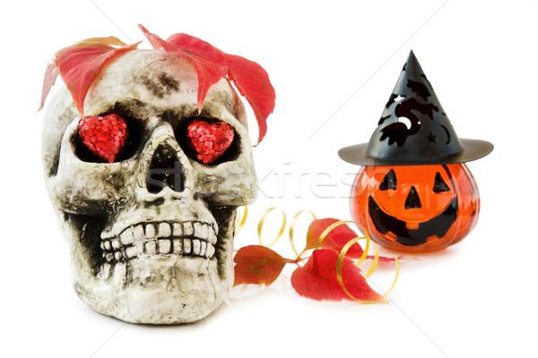 Halloween miłości scary czaszki czerwony Zdjęcia stock © Eireann