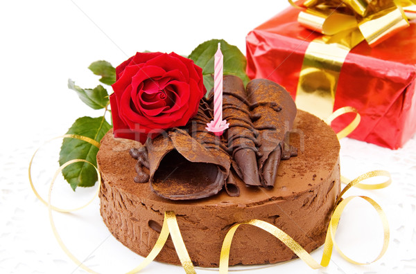 Birthday Cakes Gifts Images ~ Birthday cake with red rose and gift stock photo andreea chiper