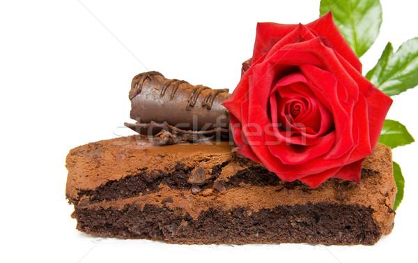 お祝い 誕生日ケーキ 赤いバラ 孤立した ストックフォト © Eireann