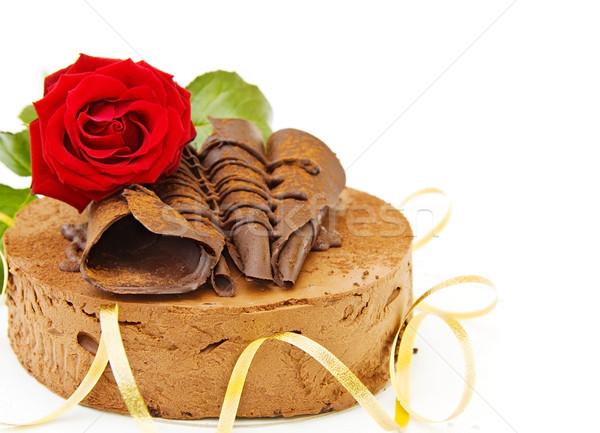 Сток-фото: торт · С · Днем · Рождения · красную · розу