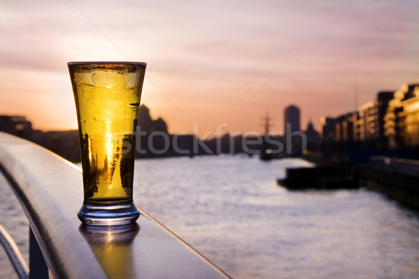 Pint of beer - over Dublin skyline Stock photo © Eireann