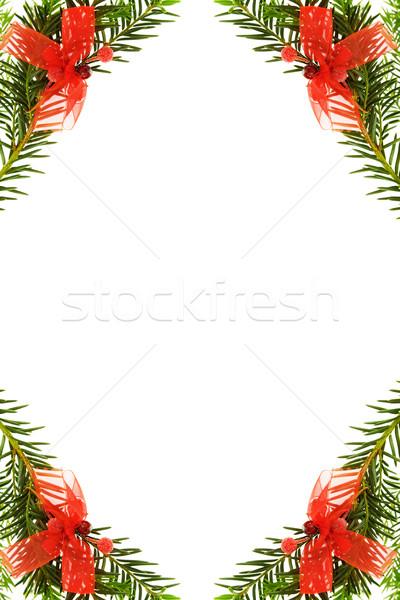 Natal pinheiro fronteira vermelho Foto stock © Eireann