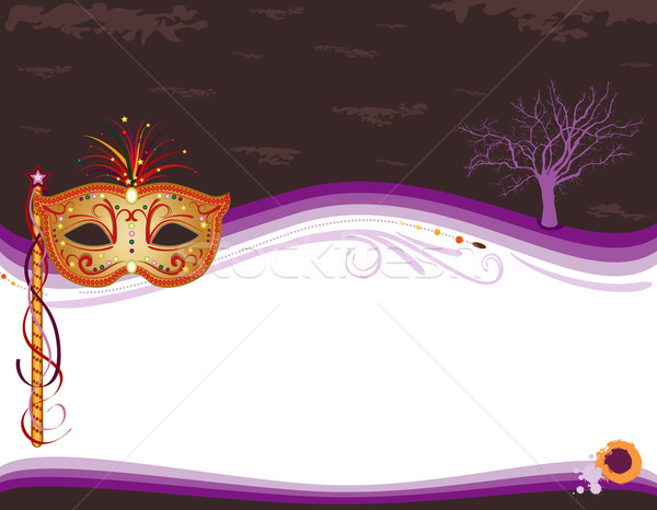 Halloween masquerade invitation with golden mask Stock photo © Eireann