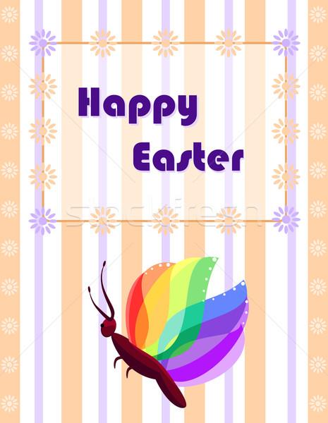 Húsvét üdvözlőlap színes pillangó eps összes Stock fotó © Eireann