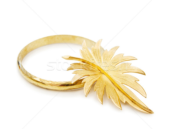 Antique gold bracelet and brooch Stock photo © Eireann