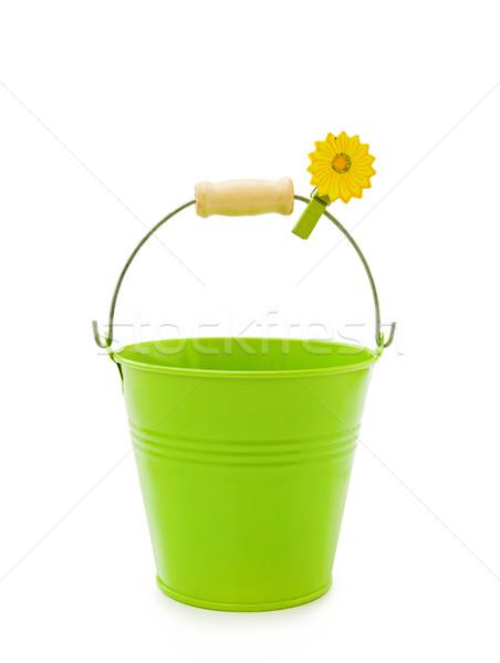 Bahçe yeşil kova çiçek kırpmak sevmek Stok fotoğraf © Eireann