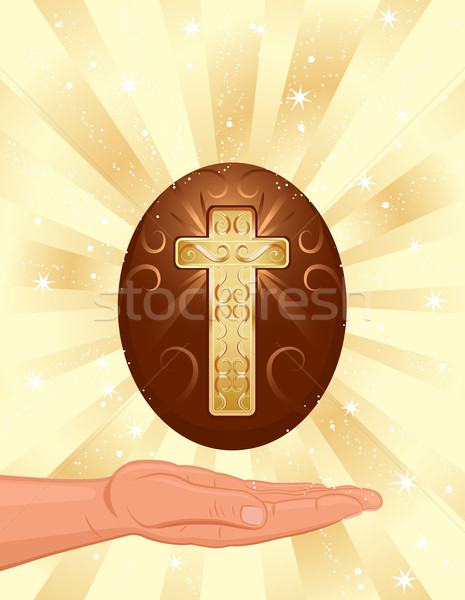 Easter resurrection light with golden cross Stock photo © Eireann