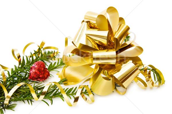 Noel altın yay kalp Stok fotoğraf © Eireann