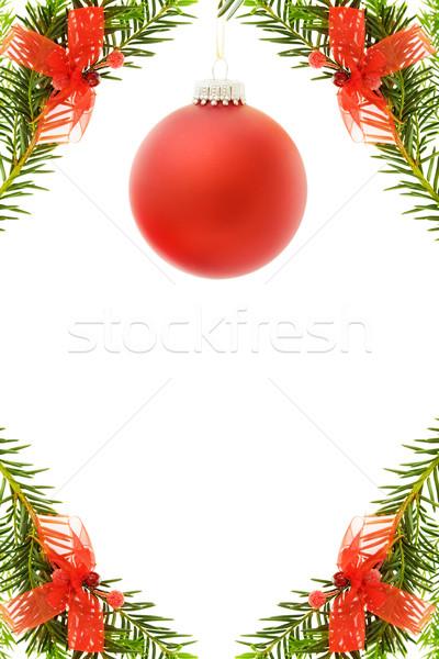 Karácsony ünnepi keret piros csecsebecse fenyőfa Stock fotó © Eireann