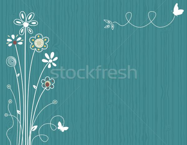 Floral cartão azul primavera vetor arquivo Foto stock © Eireann