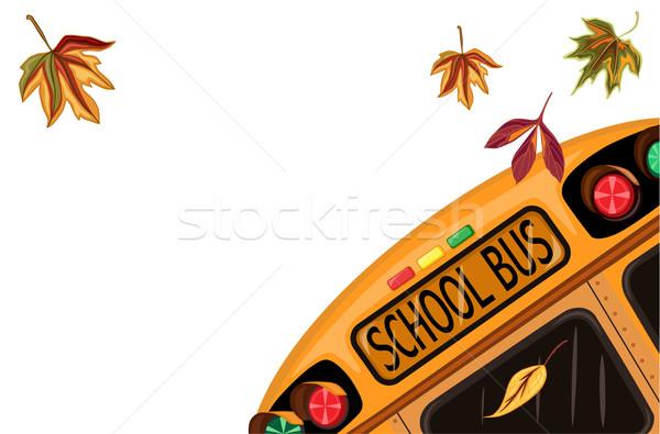 Okula geri okul otobüsü sonbahar yaprakları yalıtılmış beyaz vektör Stok fotoğraf © Eireann