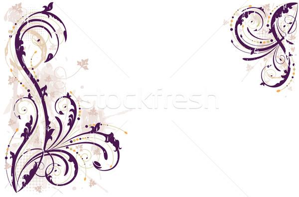 Vetor grunge floral roxo eps Foto stock © Eireann