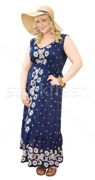 Verão diversão bela mulher chapéu de palha vestir Foto stock © Eireann