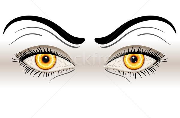 Amarelo lol olhos isolado branco vetor Foto stock © Eireann