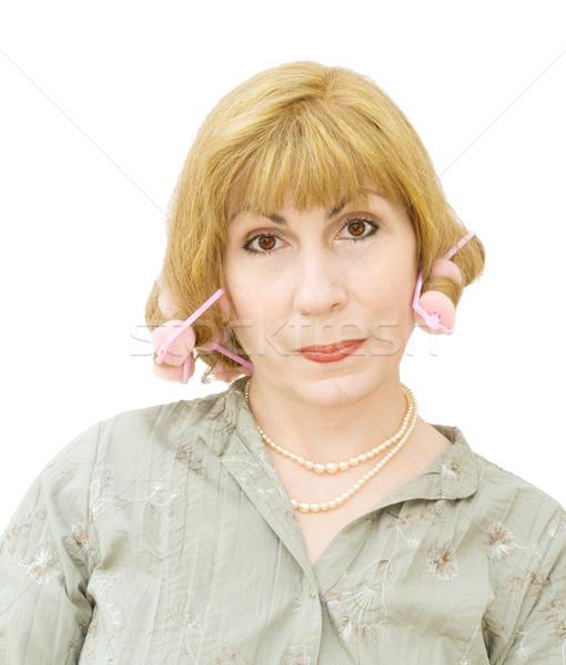 Dona de casa pronto festa cabelo Foto stock © Eireann