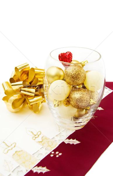 Noel altın yay Stok fotoğraf © Eireann