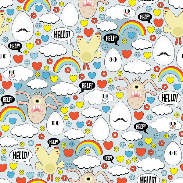 Crazy seamless pattern with eggs and monsters. Stock photo © ekapanova