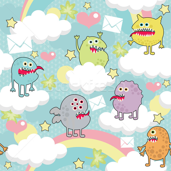 Cute monsters on clouds seamless texture with envelopes.  Stock photo © ekapanova