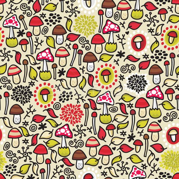 Seamless pattern with mushrooms. Stock photo © ekapanova