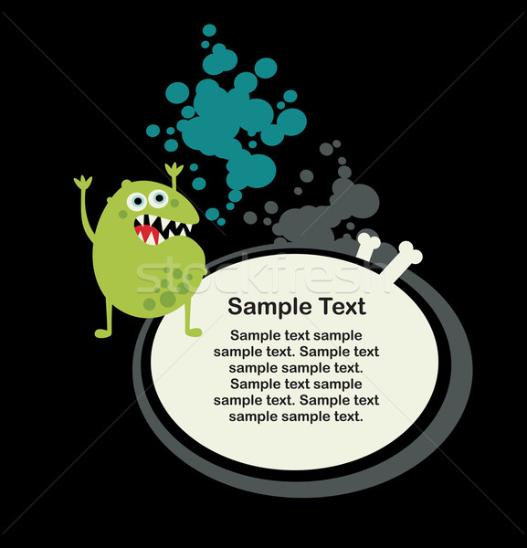 Cute monster microbe and banner with bone. Stock photo © ekapanova