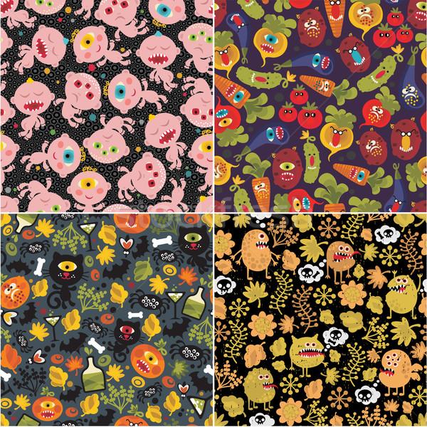 Quattro halloween sfondi vettore illustrazioni alimentare Foto d'archivio © ekapanova