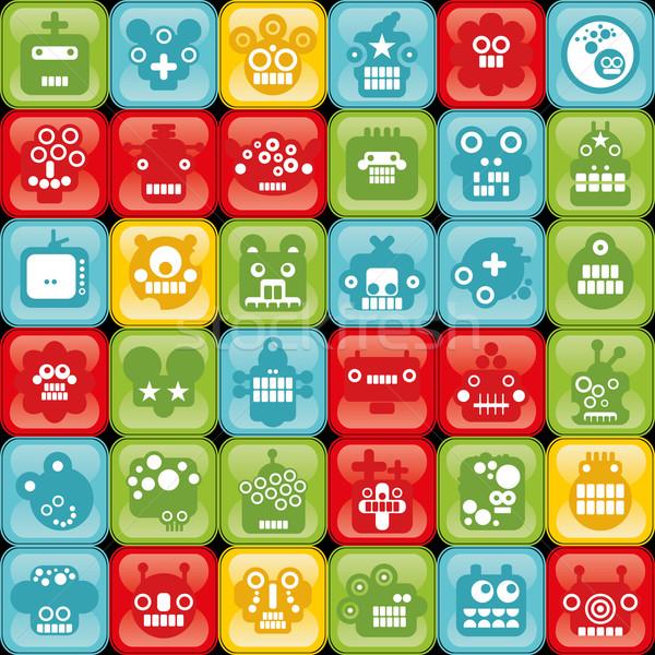 Robot knoppen naadloos monsters cel retro-stijl Stockfoto © ekapanova
