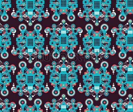 Foto stock: Grande · robots · azul · vector · textura