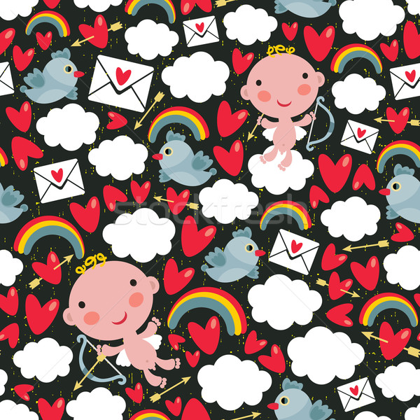 Stock photo: Cupid with hearts and birds seamless pattern.