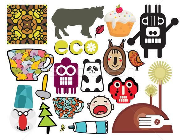 Keverék különböző vektor képek ikonok fa Stock fotó © ekapanova