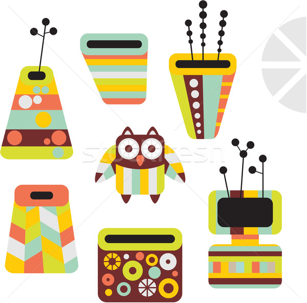 Owl and vases. Stock photo © ekapanova