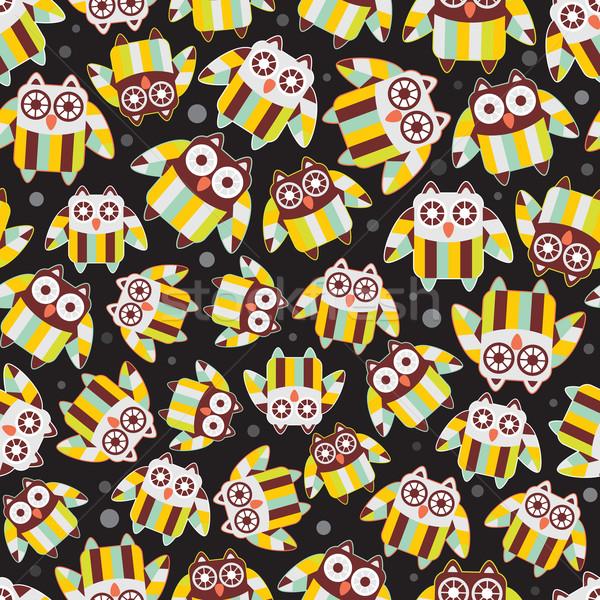 Seamless pattern with cute owls. Stock photo © ekapanova