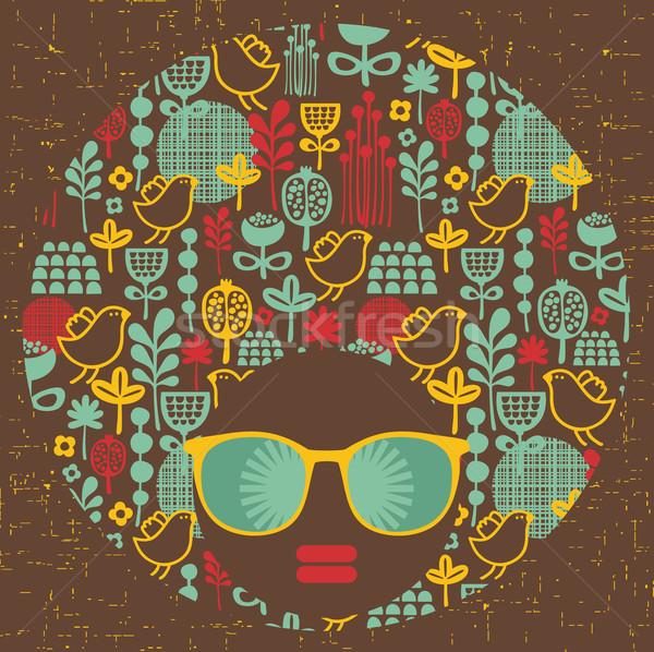 Zwarte hoofd vrouw vreemd haren patroon Stockfoto © ekapanova