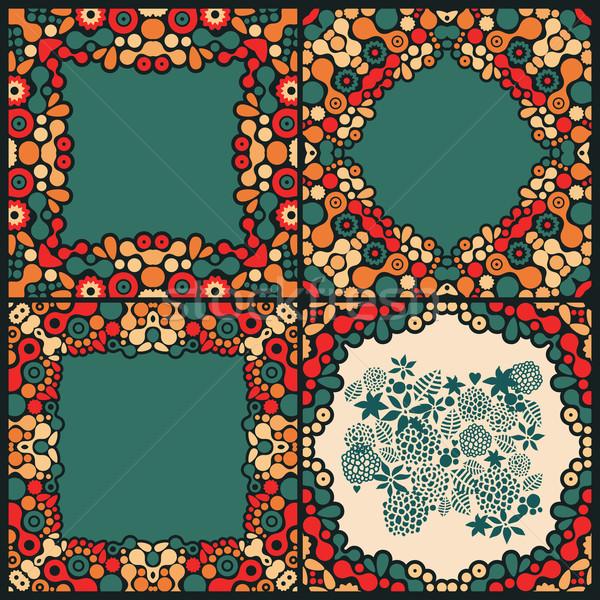 Psychedelic frames vector kleurrijk illustratie doodle Stockfoto © ekapanova