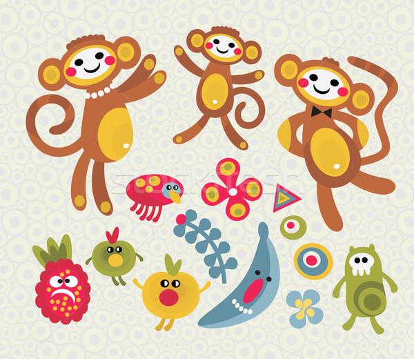 Szett aranyos vicces szörnyek állatok boldog Stock fotó © ekapanova